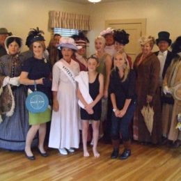 Group picture (everyone above with Susie Woods, Carolyn Runnells and Andrew LaVallie  – Fashion Show