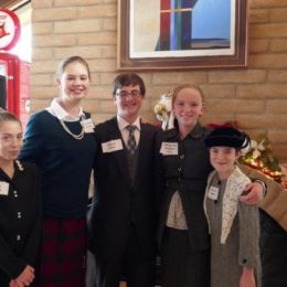 Silver State Chautauqua presenters-Breanna Lumsden, Katie Drinkwater, Tom Drinkwater, Emma George,Hallee Lumsden at NWHP Holiday Tea