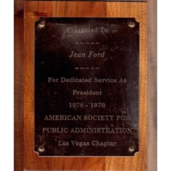 1979 Jean Ford – American Society for Public Administration