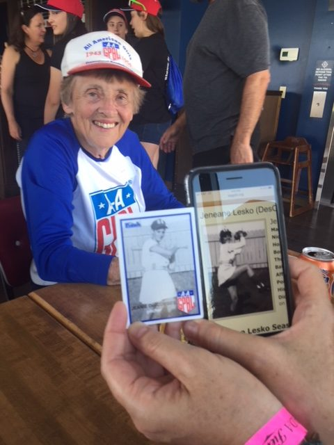 'Lefty' Lesko and her 1953 & 54 GRAND RAPID CHICKS team baseball cards